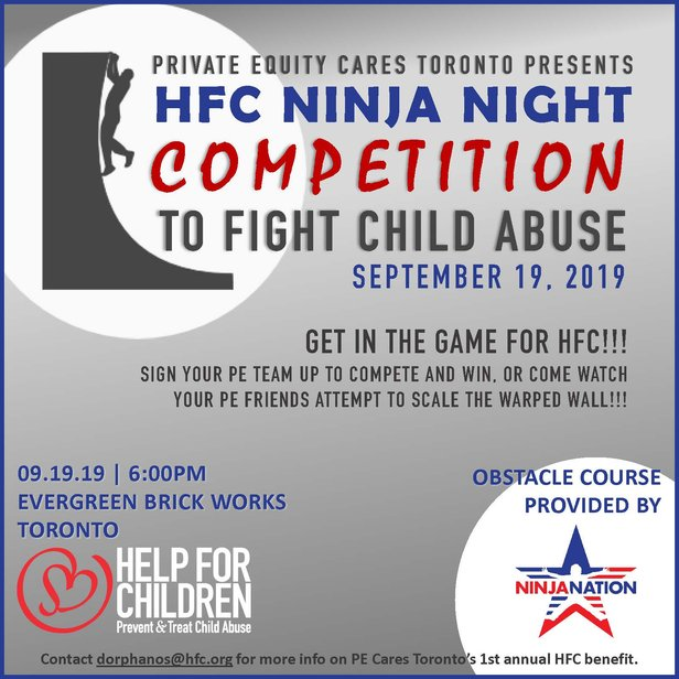 Toronto PE Cares Ninja Night 2019 Flyer